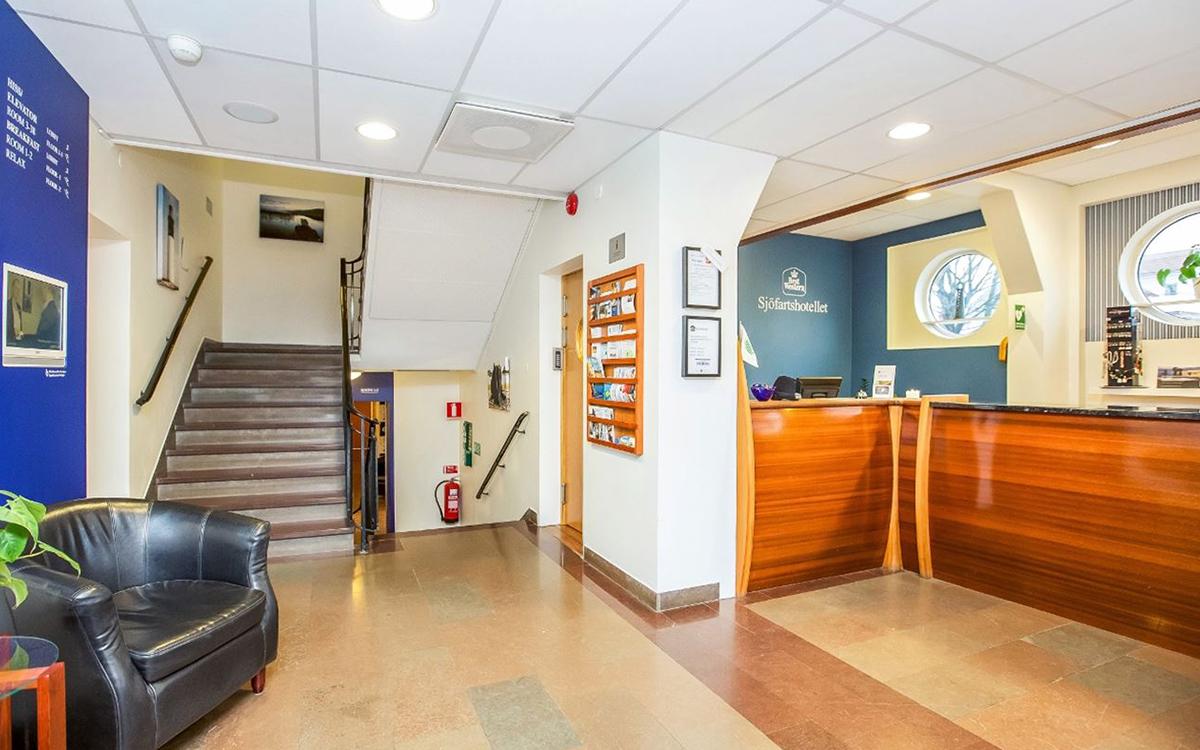 Receptionen på Sjöfartshotellet